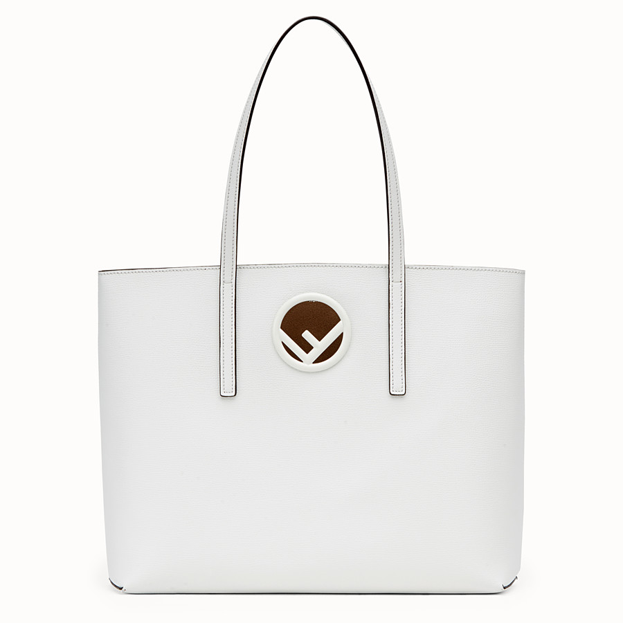 FENDI SHOPPING LOGO - White leather shopper bag - view 1 detail