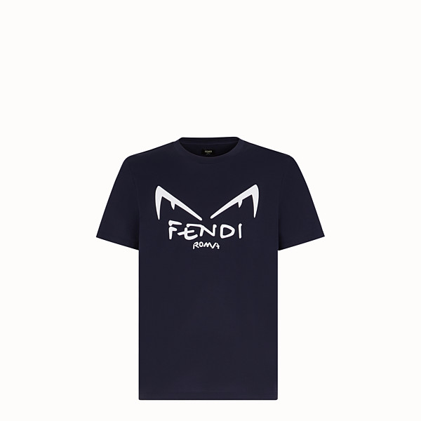 FENDI T-SHIRT - Blue cotton jersey T-shirt - view 1 small thumbnail
