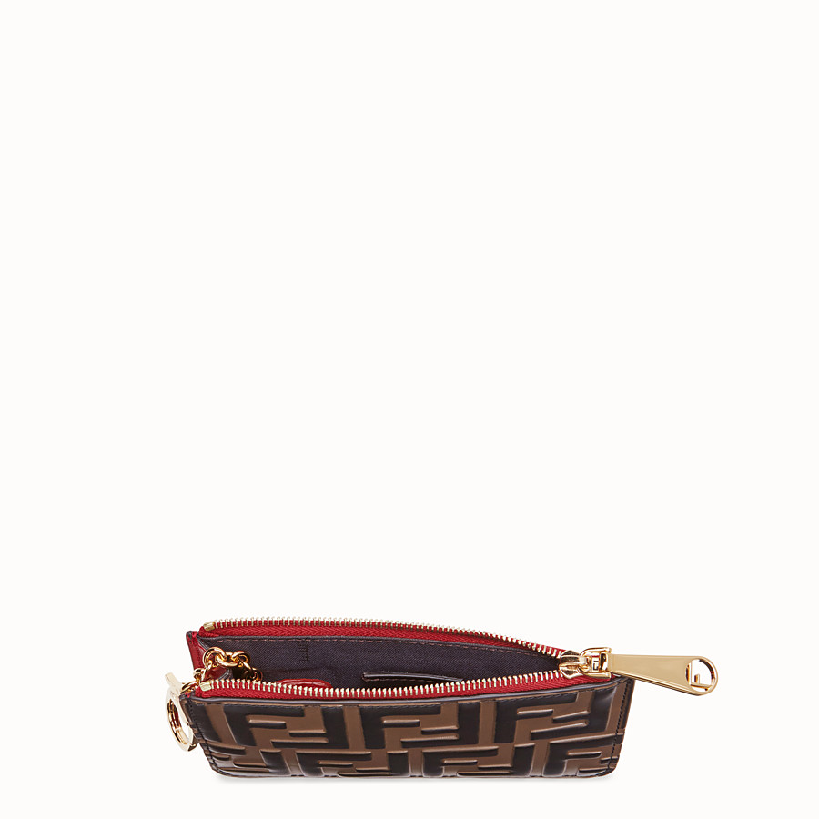 FENDI KEY RING POUCH - Brown leather pouch - view 4 detail