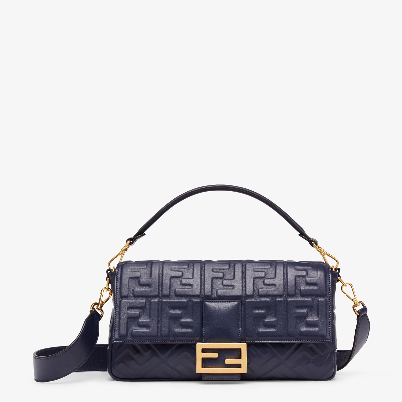 FENDI BAGUETTE LARGE - Blue nappa leather bag - view 1 detail