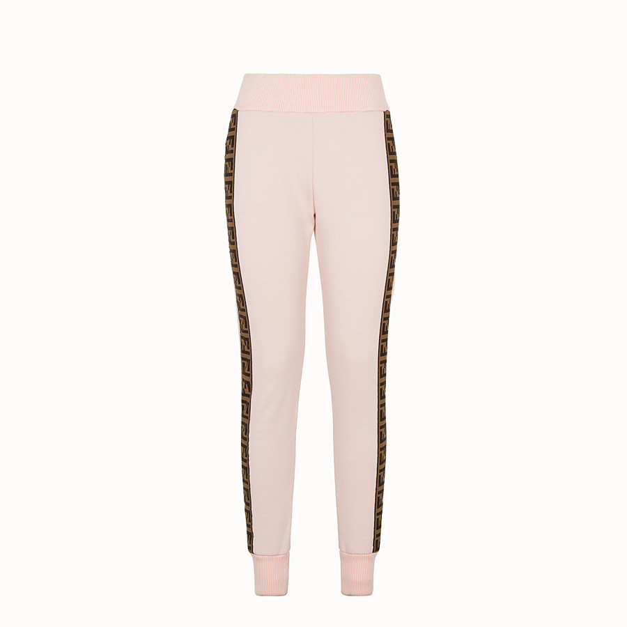 FENDI TROUSERS - Pink fabric tracksuit trousers - view 1 detail