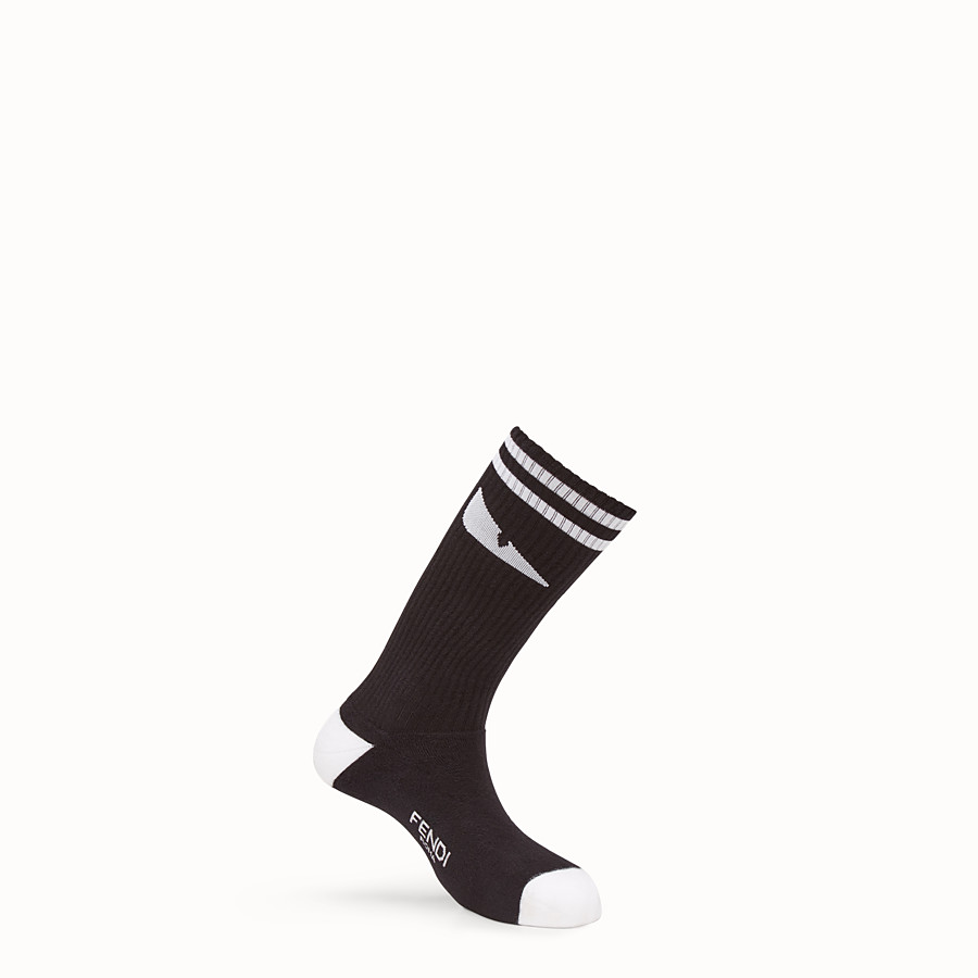 FENDI SOCKS - Black stretch cotton socks - view 1 detail