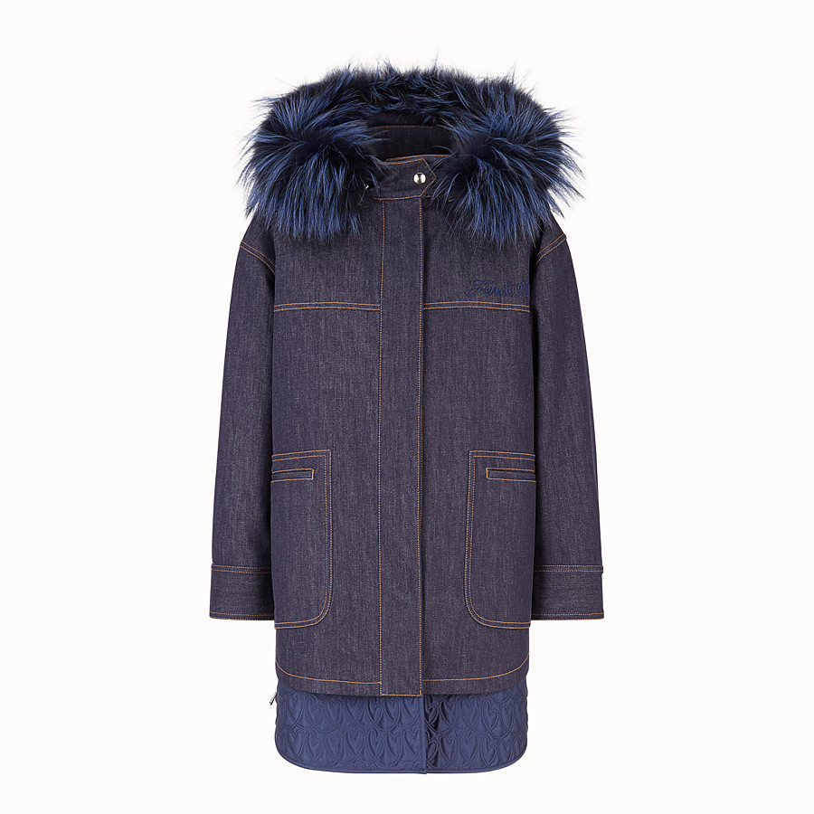 FENDI PARKA - Blue denim parka - view 1 detail
