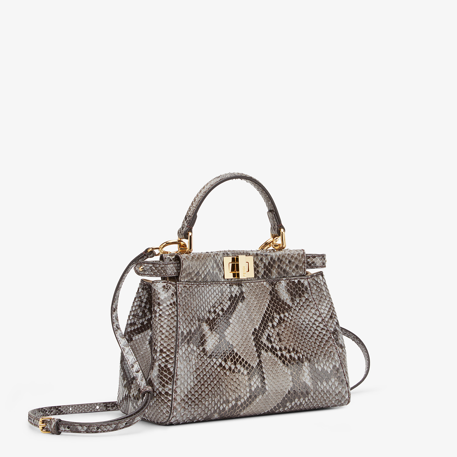 FENDI PEEKABOO ICONIC MINI - Gray python bag - view 2 detail
