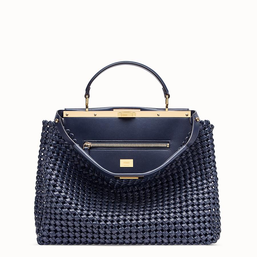 FENDI PEEKABOO ICONIC LARGE - Blue leather interlace bag - view 1 detail