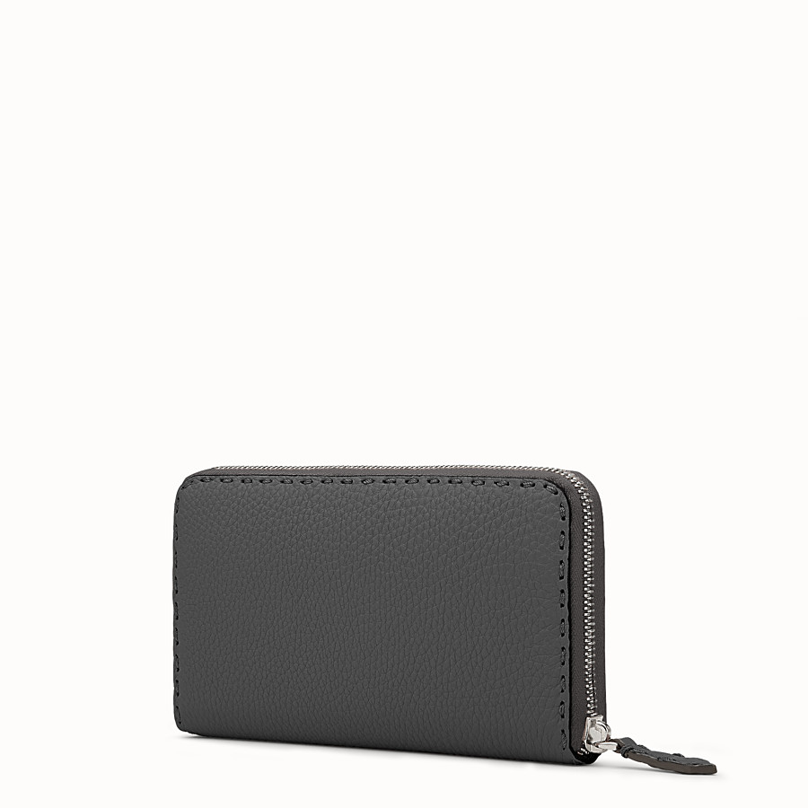 FENDI WALLET - Zip-around in grey Roman leather - view 2 detail