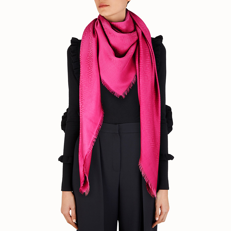 FENDI FF SHAWL - wool and fucsia silk - view 3 detail