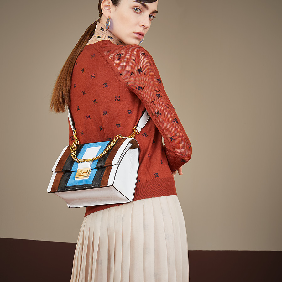 FENDI KAN U - Multicolour leather and suede bag - view 2 detail