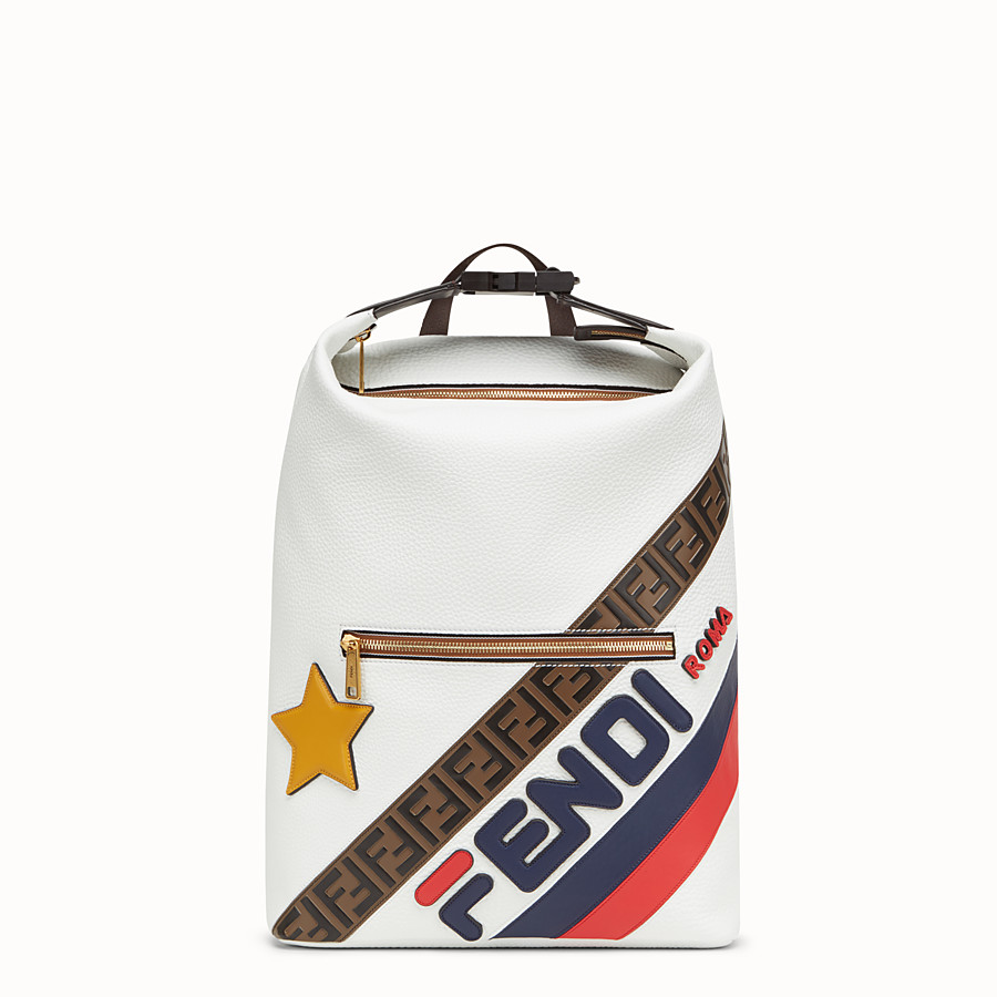 FENDI BACKPACK - White leather backpack. - view 1 detail