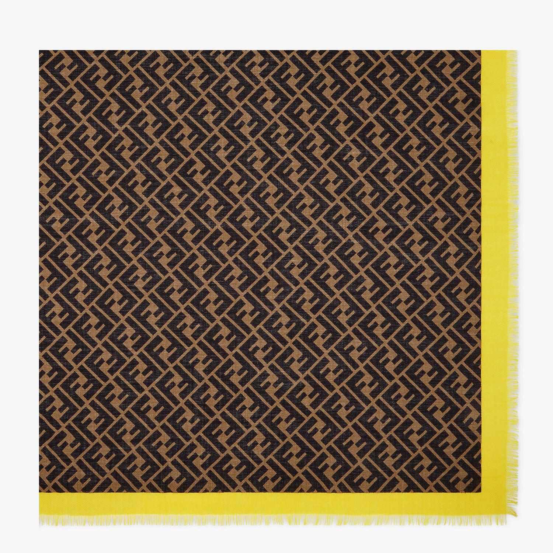 FENDI FENDIRAMA SHAWL - Brown silk shawl - view 1 detail