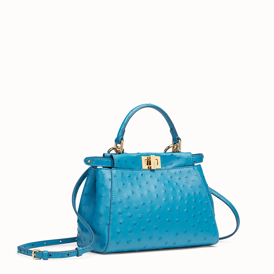FENDI PEEKABOO MINI - Light blue ostrich leather bag - view 2 detail