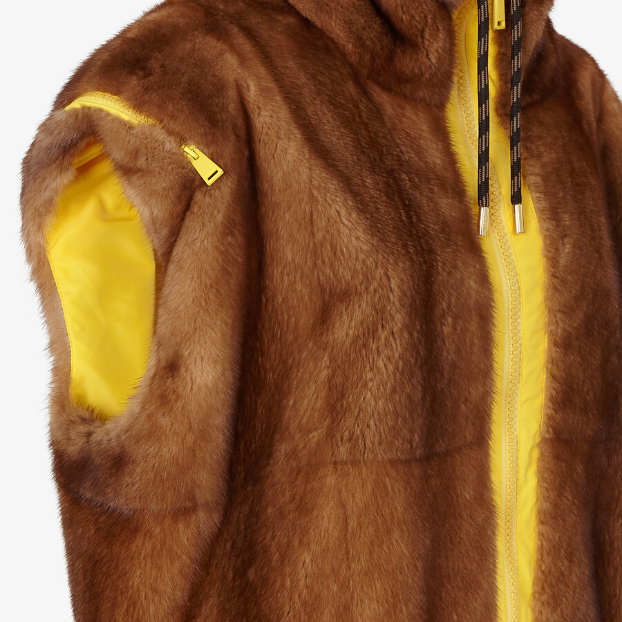 FENDI VEST - Mink and yellow nylon gilet - view 3 detail