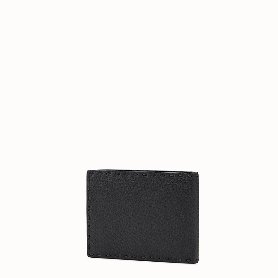 FENDI WALLET - Black leather bi-fold Selleria wallet - view 2 detail
