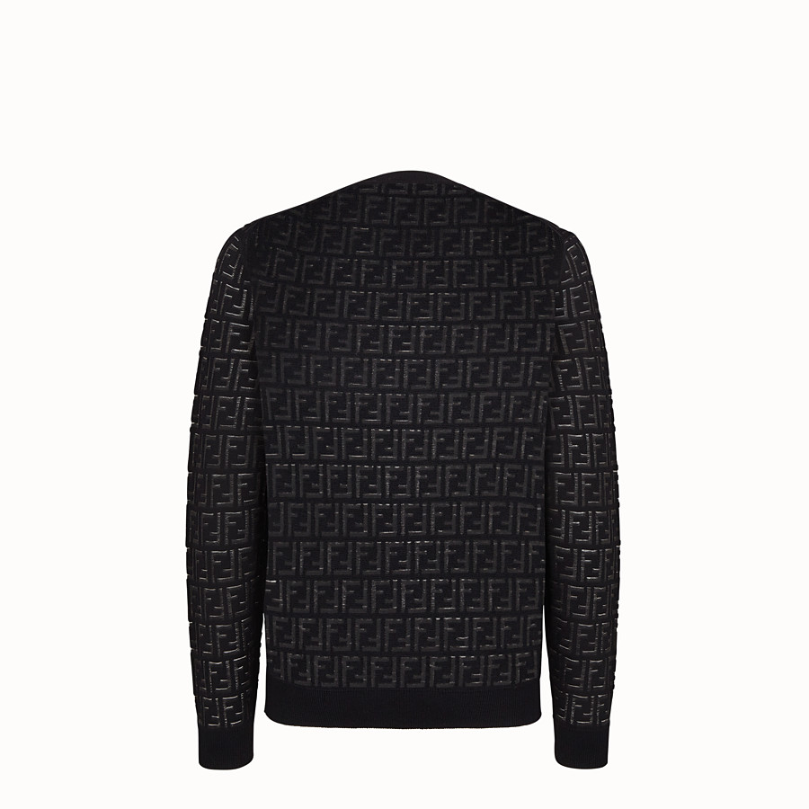 FENDI PULLOVER - Jumper in black nylon and wool - view 2 detail