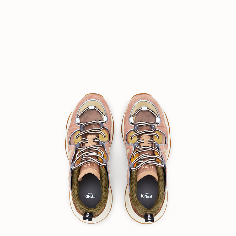 FENDI SNEAKER - Niedriger Sneaker aus Veloursleder in Rosa - view 4 detail