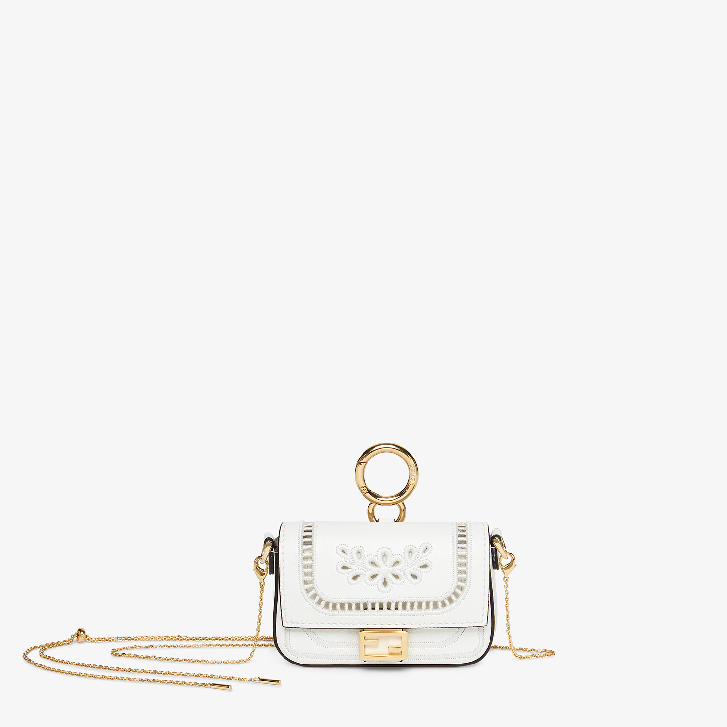 FENDI NANO BAGUETTE CHARM - White leather charm - view 5 detail