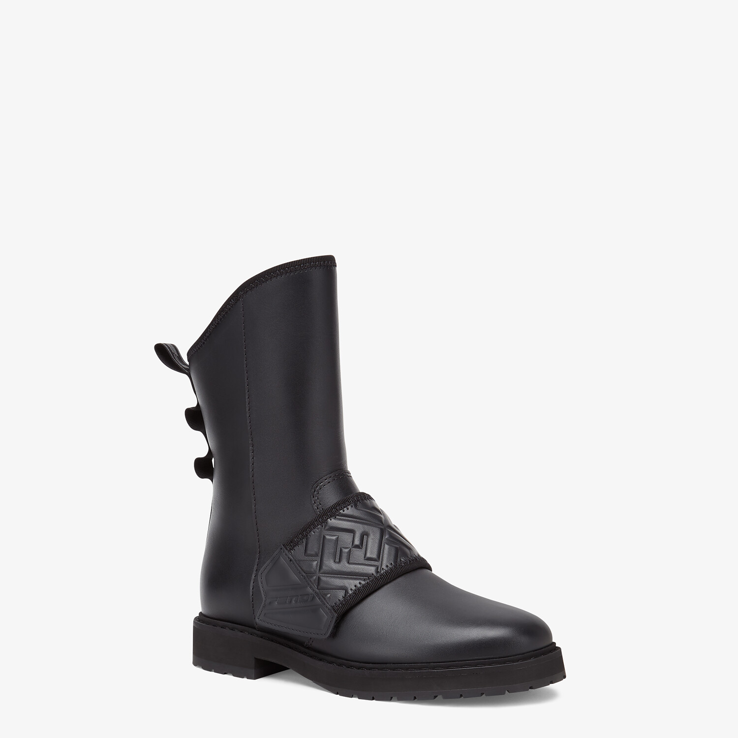 FENDI BIKER BOOTS - Black leather ankle boots - view 2 detail