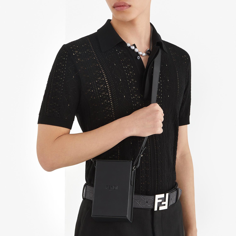 FENDI VERTICAL BOX - Black leather bag - view 6 detail