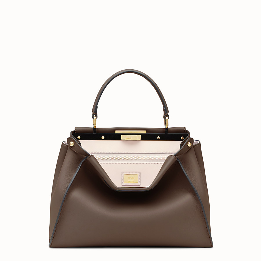 FENDI PEEKABOO REGULAR - Brown leather handbag - view 1 detail