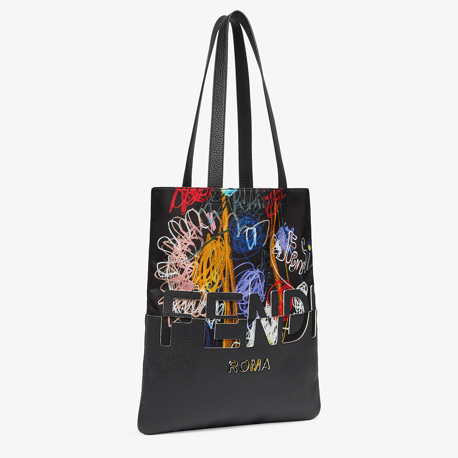 FENDI FLAT SHOPPING BAG - Multicolor nylon and leather bag - view 2 detail