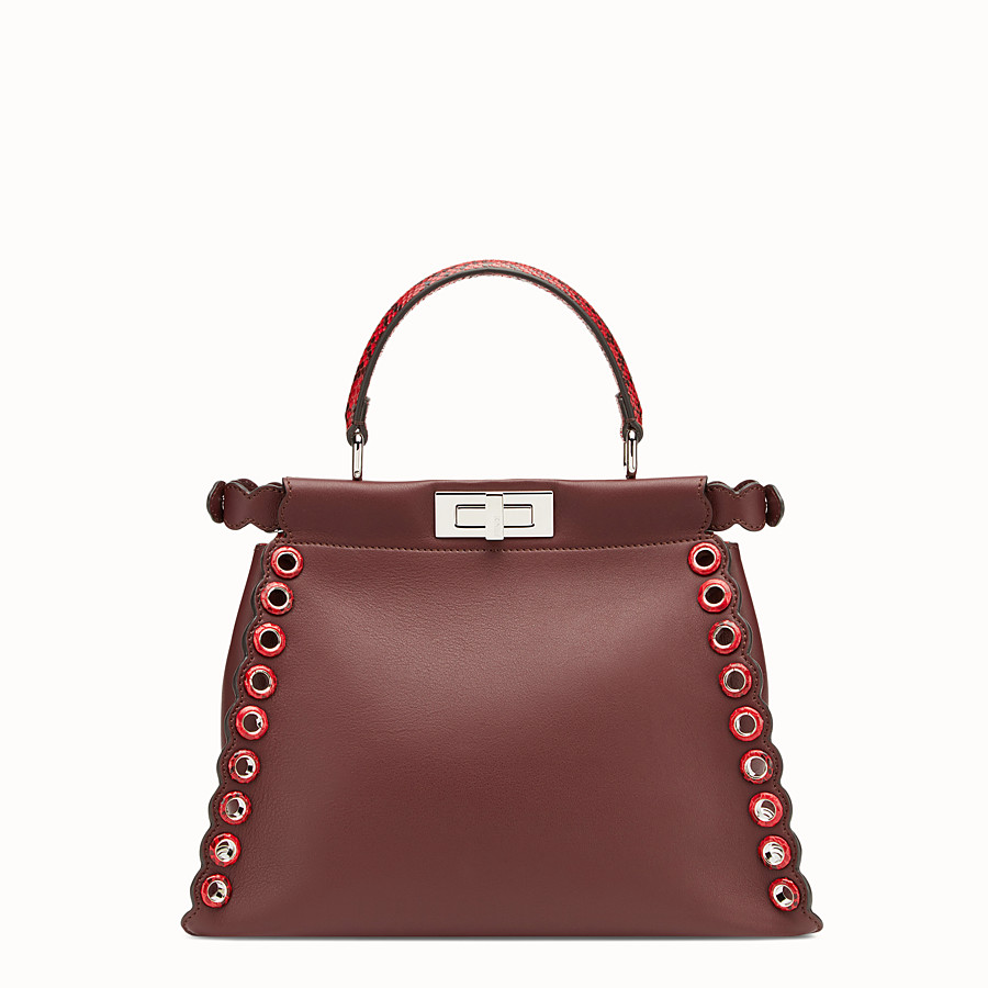 FENDI PEEKABOO REGULAR - Exotic burgundy leather bag - view 3 detail