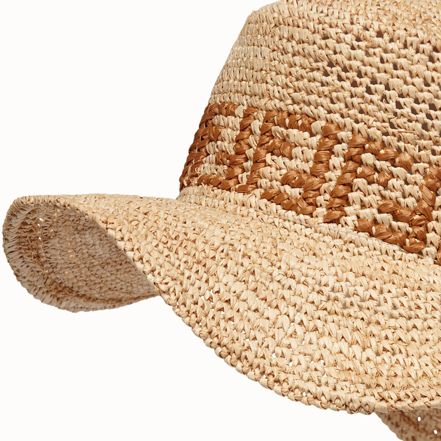 FENDI HAT - Beige raffia bucket hat - view 2 detail