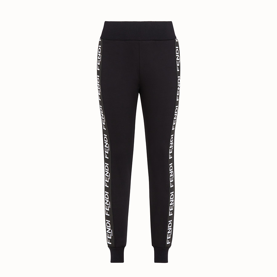 FENDI TROUSERS - Black fabric jogging trousers - view 1 detail