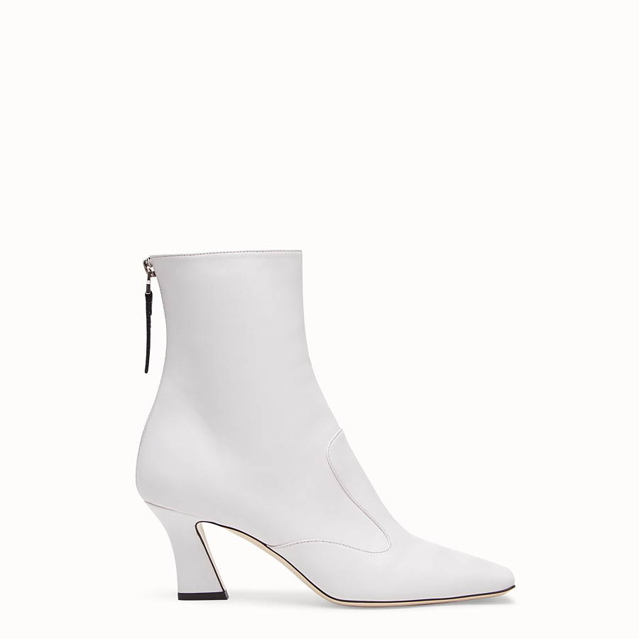 FENDI BOOTS - White nappa leather booties - view 1 detail