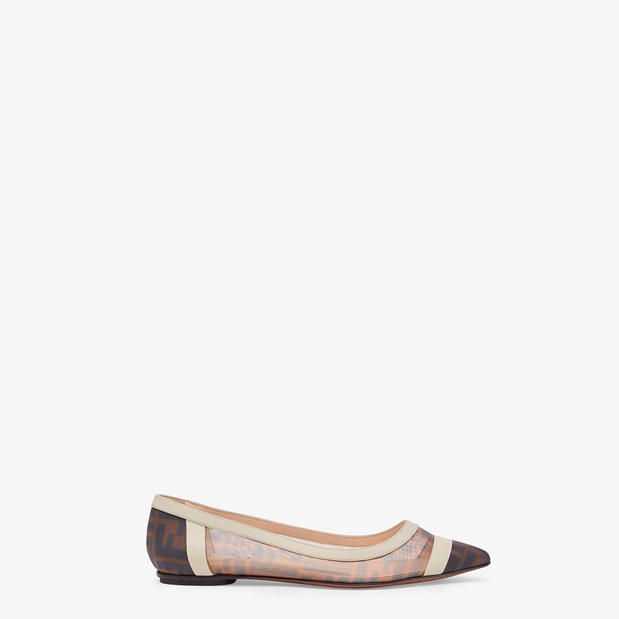 FENDI BALLERINAS - Flache Schuhe aus Netzgewebe und Leder in Weiß - view 1 detail
