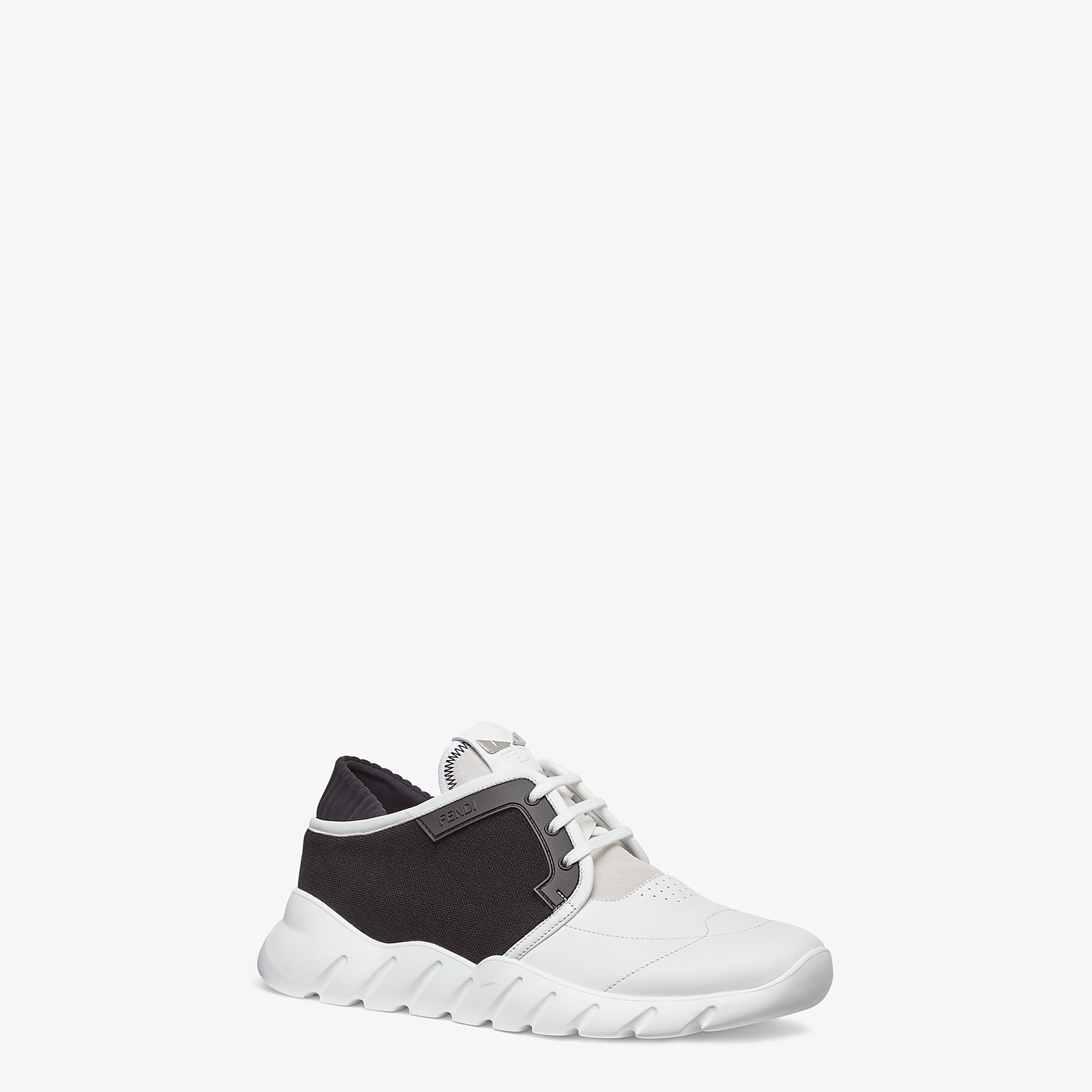 FENDI SNEAKERS - Multicolour leather and mesh low-tops - view 2 detail
