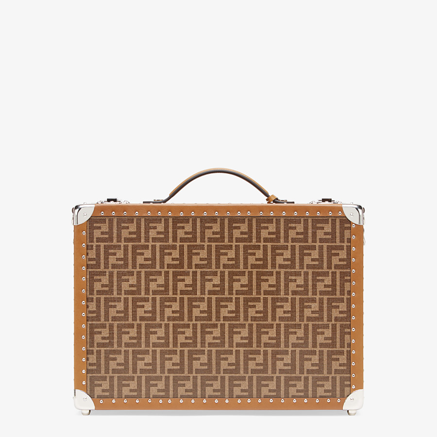 FENDI RIGID SUITCASE MEDIUM - Brown fabric suitcase - view 3 detail