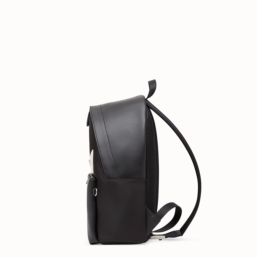 FENDI BACKPACK - Black nylon backpack with exotic leather details - view 2 detail