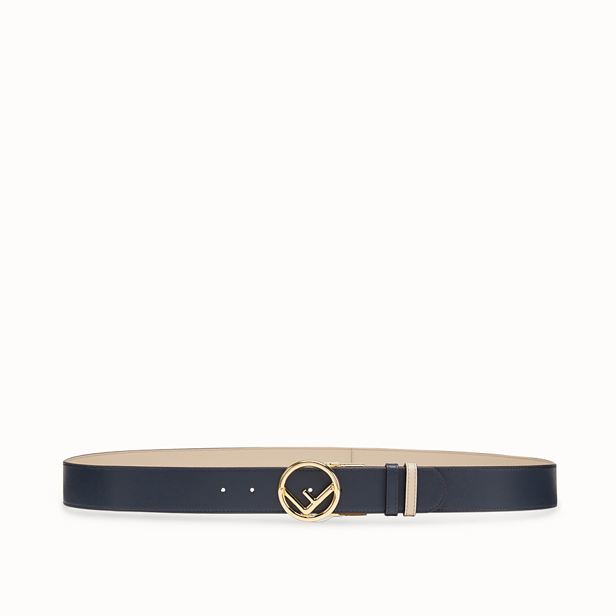FENDI BELT - Navy blue leather belt - view 1 detail