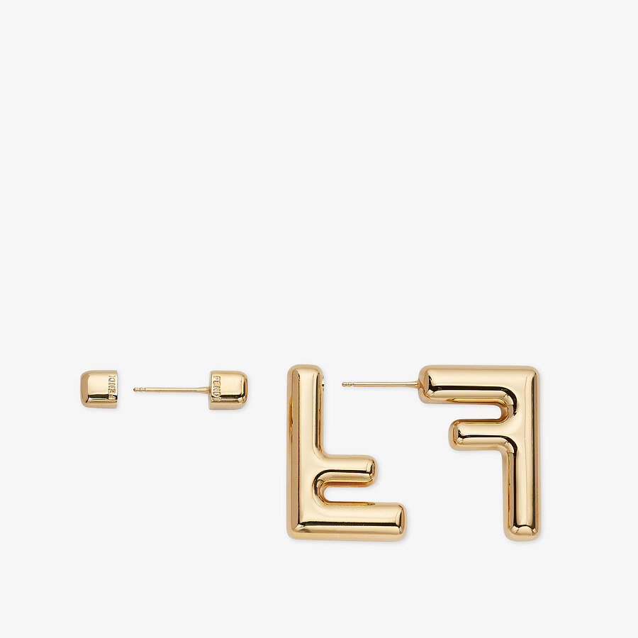 FENDI SMALL FF EARRINGS - Gold-color earrings - view 3 detail