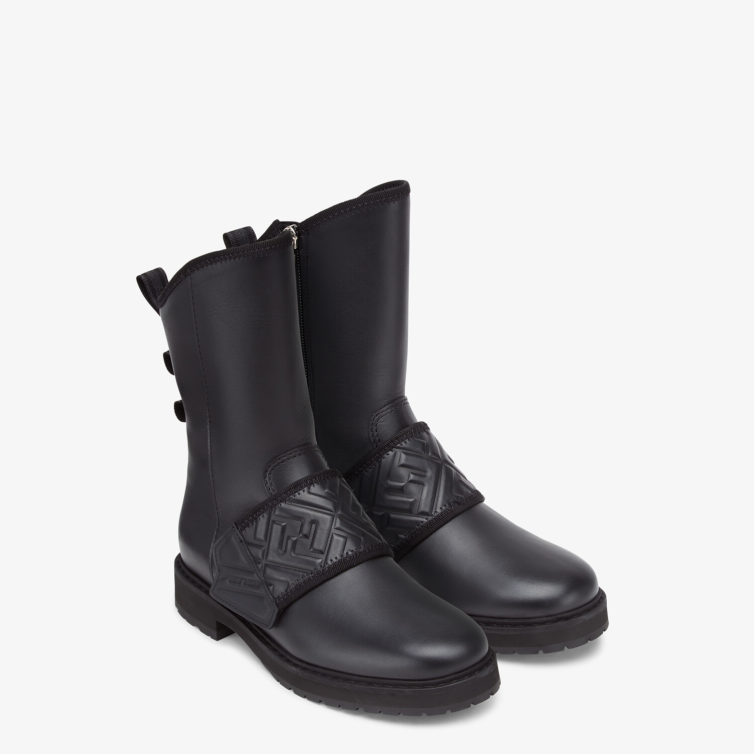 FENDI BIKER BOOTS - Black leather ankle boots - view 4 detail
