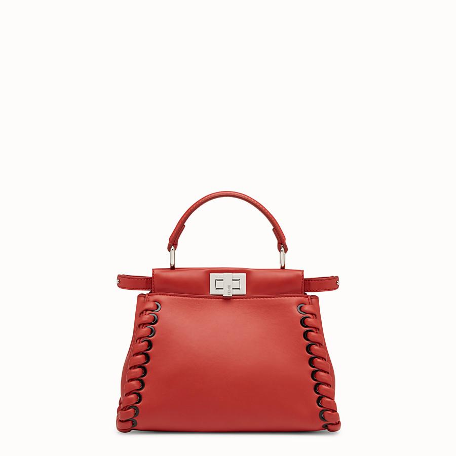 FENDI 迷你款式 PEEKABOO - 紅色軟皮手提包,裝飾編織皮條。 - view 1 detail