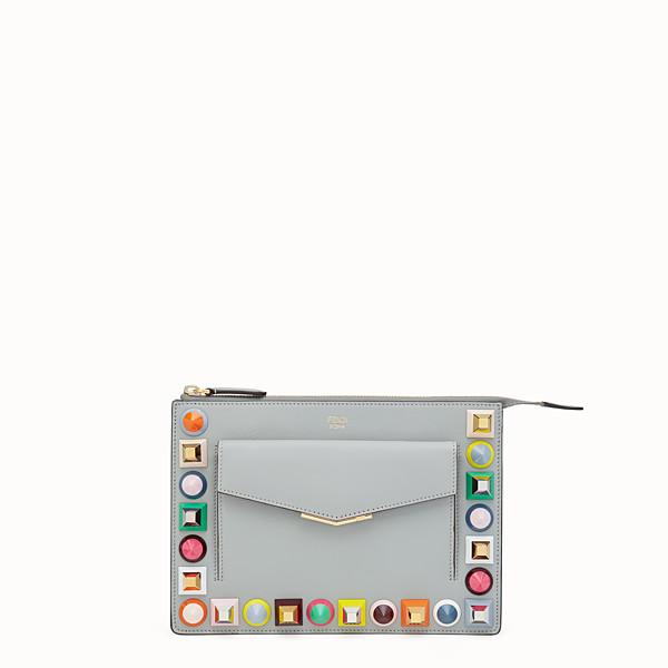 FENDI MINI POCHETTE - Mini-Tasche aus grauem Leder - view 1 small thumbnail