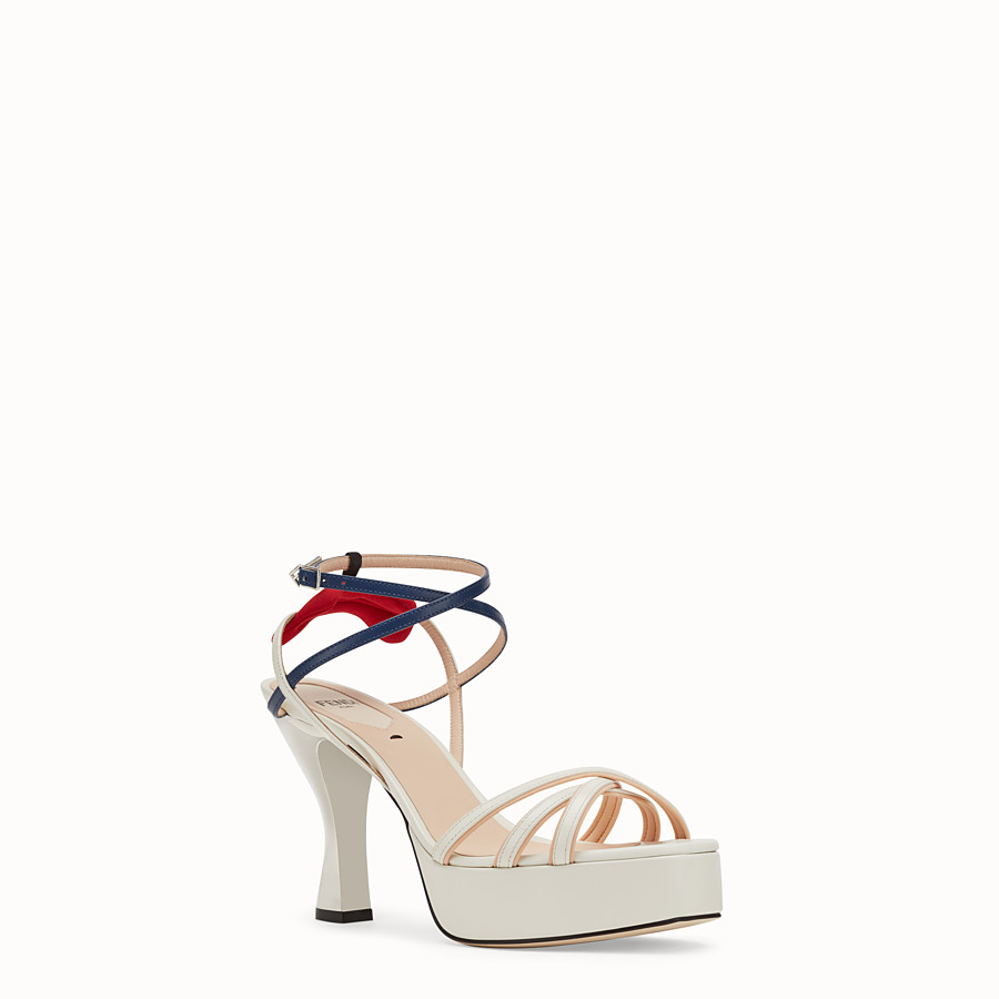 FENDI SANDALS - White leather sandals - view 2 detail