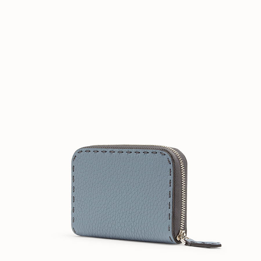 FENDI SMALL ZIP-AROUND - Pale blue leather wallet - view 2 detail