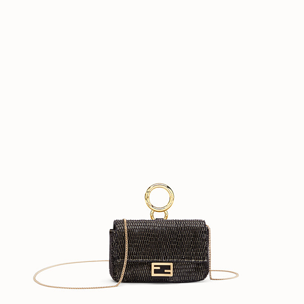 FENDI NANO BAGUETTE - Black leather charm - view 1 small thumbnail
