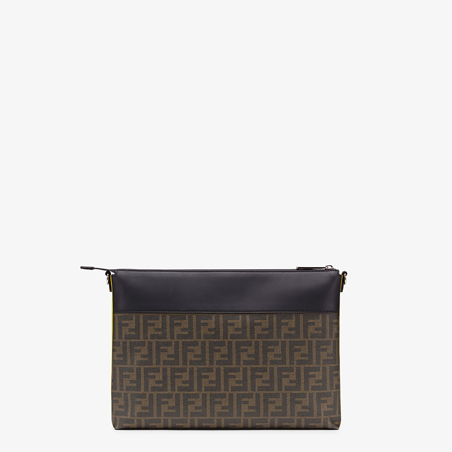 FENDI MESSENGER - Brown fabric slim pouch - view 3 detail