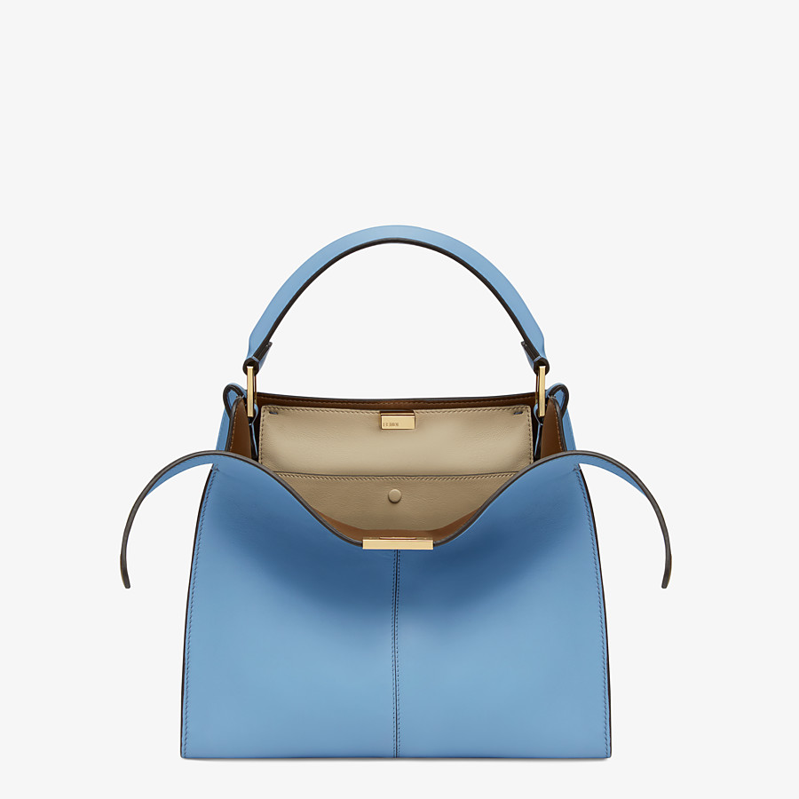 FENDI PEEKABOO X-LITE MEDIUM - Pale blue leather bag - view 1 detail