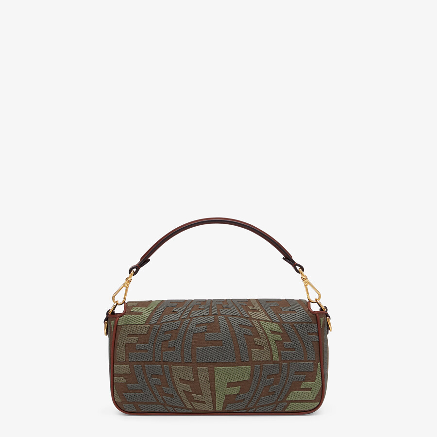 FENDI BAGUETTE - Embroidered green canvas bag - view 4 detail