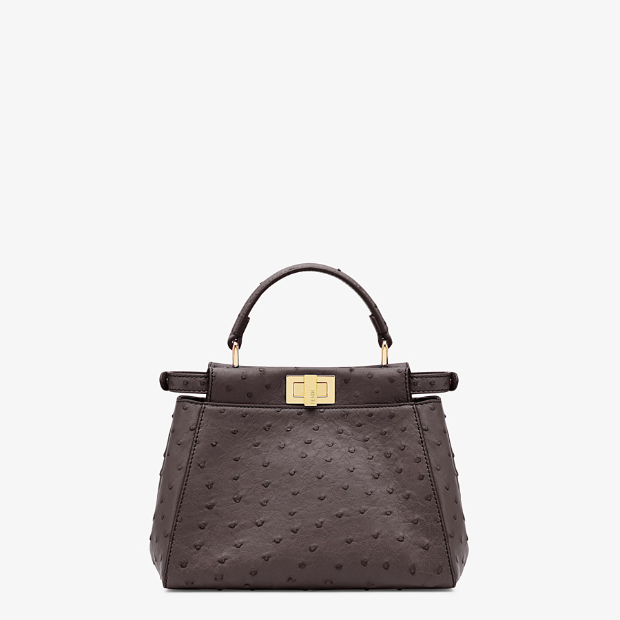 FENDI PEEKABOO ICONIC MINI - Brown ostrich leather bag - view 3 detail