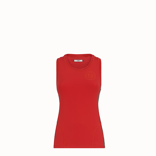 FENDI TANK TOP - Red stretch jersey tank top - view 1 small thumbnail
