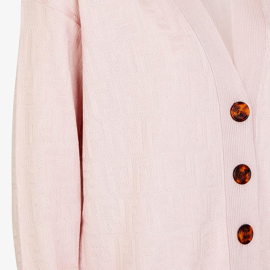 FENDI CARDIGAN - Pink viscose and cotton cardigan - view 3 detail