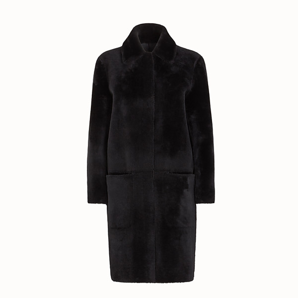 FENDI COAT - Black shearling coat - view 1 small thumbnail
