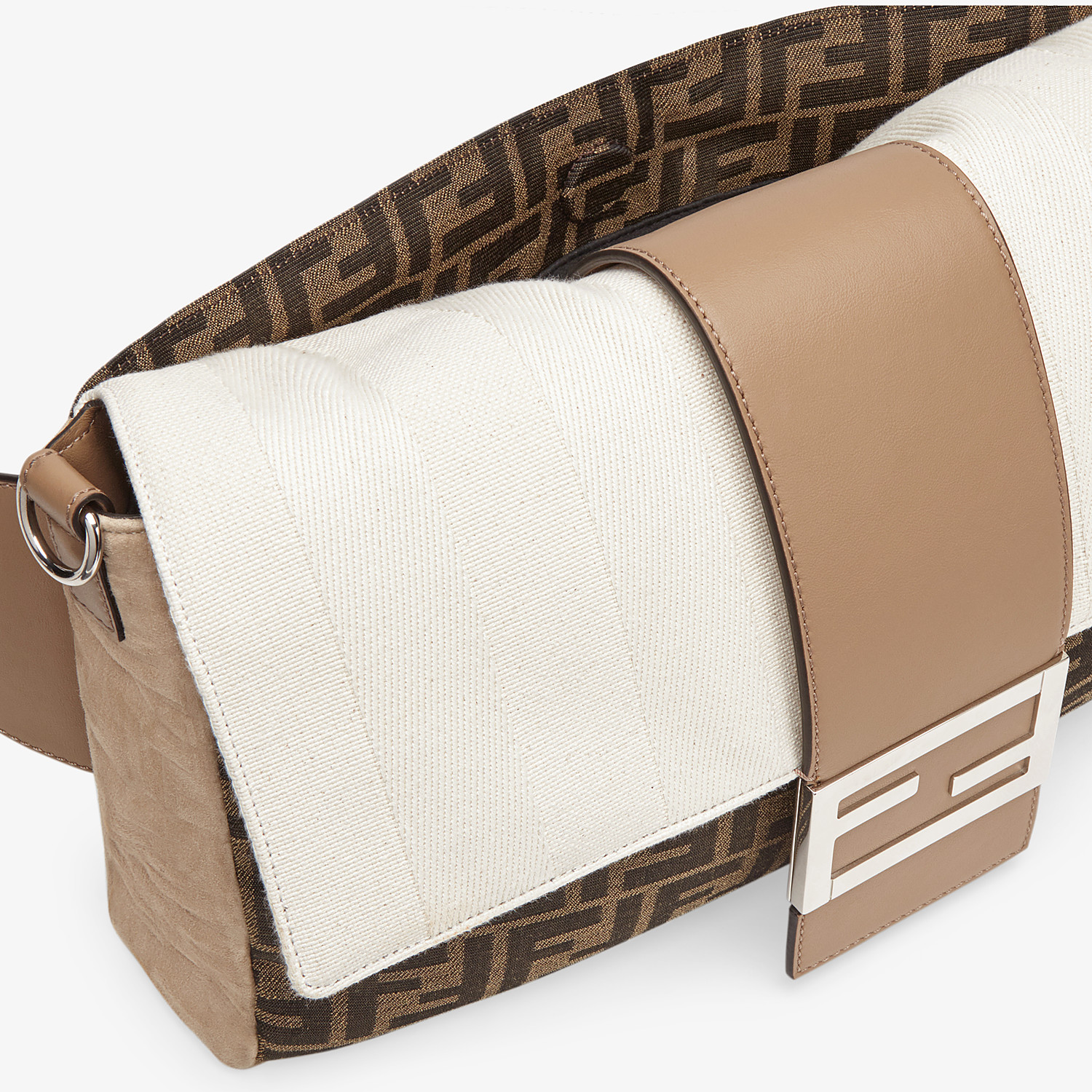 FENDI BAGUETTE LARGE - Brown fabric bag - view 6 detail
