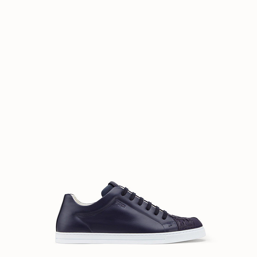 FENDI SNEAKERS - Blue leather low-tops - view 1 detail