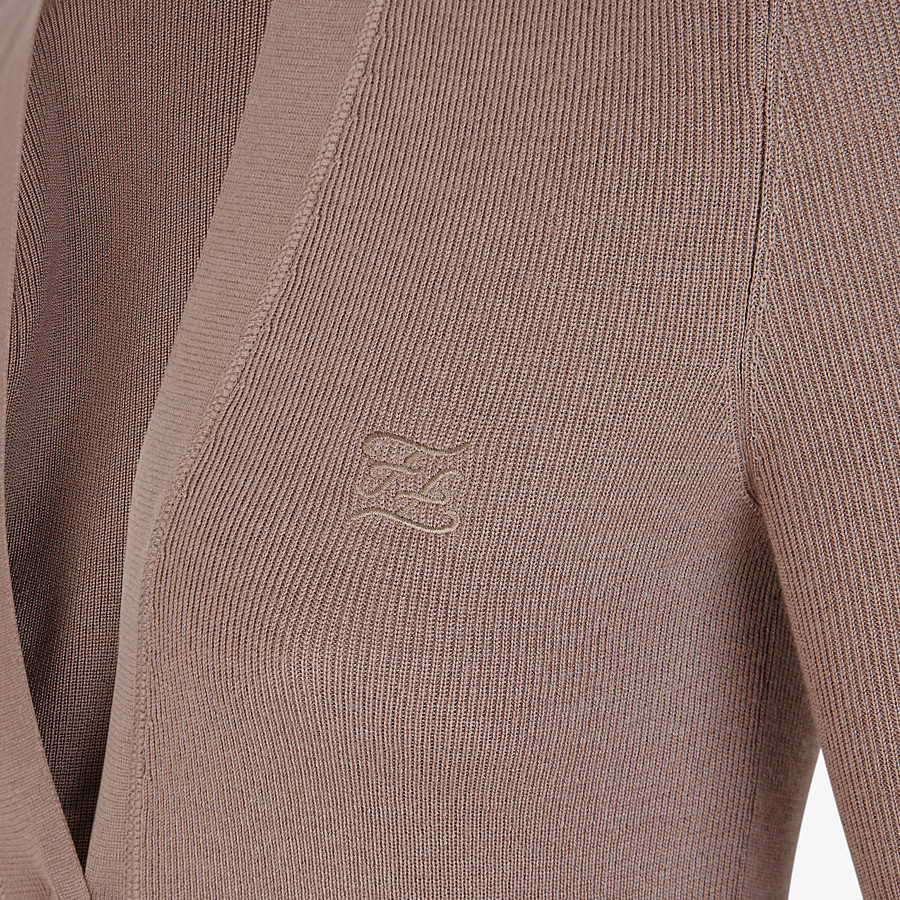 FENDI CARDIGAN - Beige silk and wool cardigan - view 3 detail